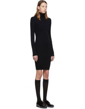 photo Navy Cotton Rib Knit Short Dress by Helmut Lang - Image 2