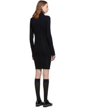 photo Navy Cotton Rib Knit Short Dress by Helmut Lang - Image 3
