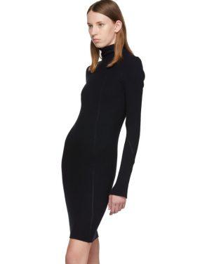 photo Navy Cotton Rib Knit Short Dress by Helmut Lang - Image 4