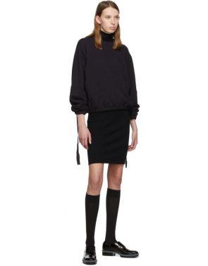 photo Navy Cotton Rib Knit Short Dress by Helmut Lang - Image 5