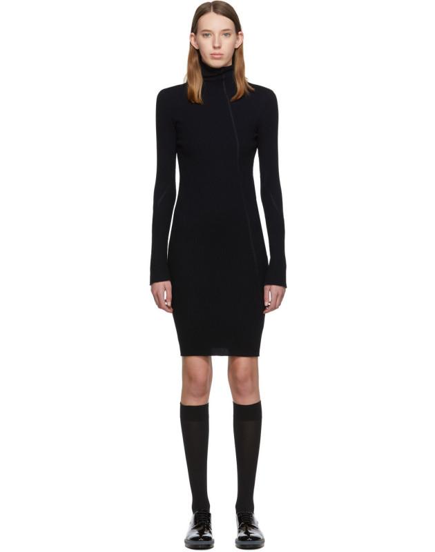 photo Navy Cotton Rib Knit Short Dress by Helmut Lang - Image 1