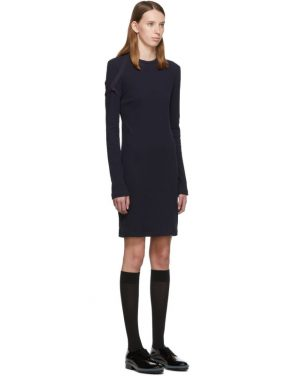 photo Navy Crepe Harness Short Dress by Helmut Lang - Image 2