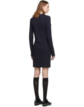 photo Navy Crepe Harness Short Dress by Helmut Lang - Image 3