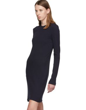 photo Navy Crepe Harness Short Dress by Helmut Lang - Image 4