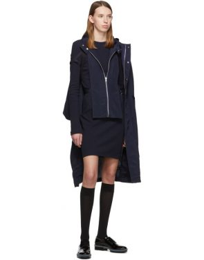 photo Navy Crepe Harness Short Dress by Helmut Lang - Image 5
