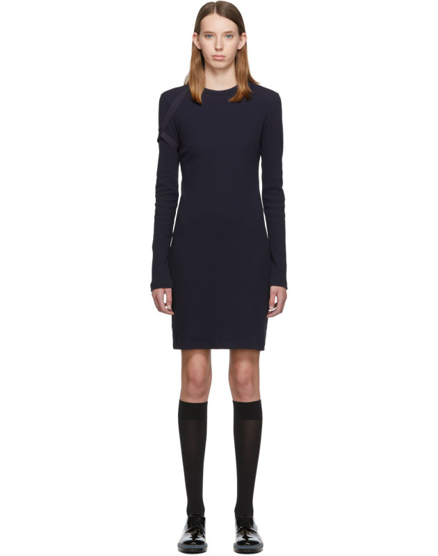 photo Navy Crepe Harness Short Dress by Helmut Lang - Image 1