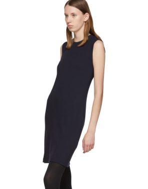 photo Navy Jersey Neck Drape Dress by Helmut Lang - Image 4