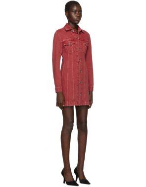 photo Red Denim Femme Trucker Dress by Helmut Lang - Image 2