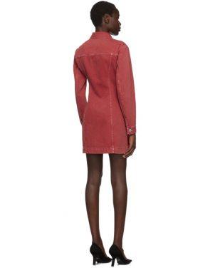 photo Red Denim Femme Trucker Dress by Helmut Lang - Image 3