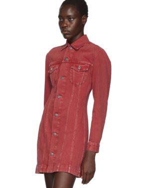 photo Red Denim Femme Trucker Dress by Helmut Lang - Image 4