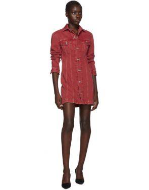photo Red Denim Femme Trucker Dress by Helmut Lang - Image 5