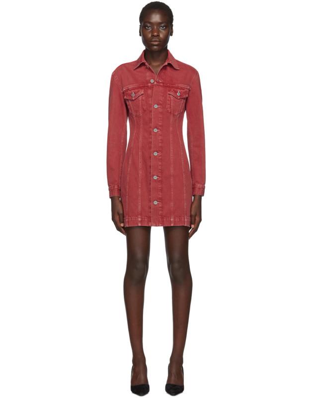 photo Red Denim Femme Trucker Dress by Helmut Lang - Image 1