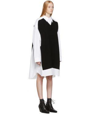 photo White and Navy Cotton Poplin Dress by Maison Margiela - Image 2