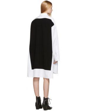 photo White and Navy Cotton Poplin Dress by Maison Margiela - Image 3
