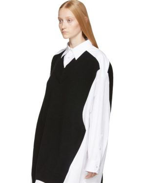 photo White and Navy Cotton Poplin Dress by Maison Margiela - Image 4