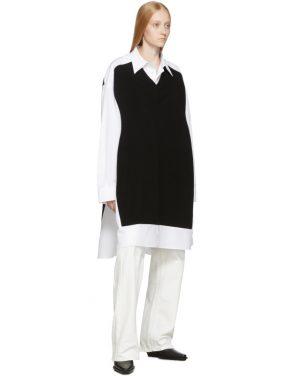 photo White and Navy Cotton Poplin Dress by Maison Margiela - Image 5