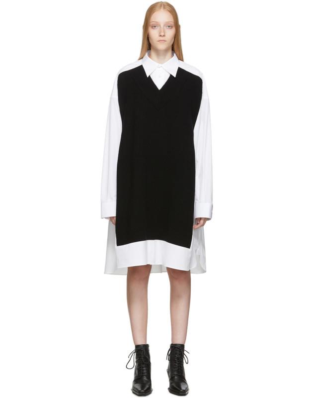 photo White and Navy Cotton Poplin Dress by Maison Margiela - Image 1