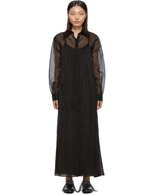 photo Black Organza Long Shirt Dress by Maison Margiela - Image 1