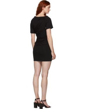 photo Black Draped T-Shirt Bustier Dress by Alexander Wang - Image 3