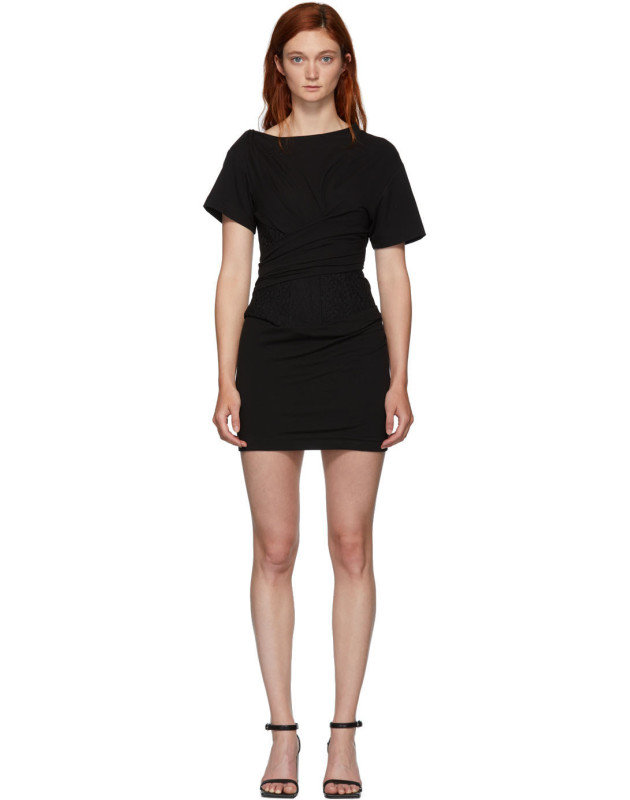 photo Black Draped T-Shirt Bustier Dress by Alexander Wang - Image 1