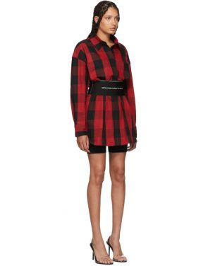 photo Black and Red Plaid Belt Shirt Dress by Alexander Wang - Image 2