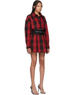 photo Black and Red Plaid Belt Shirt Dress by Alexander Wang - Image 4