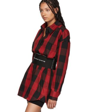 photo Black and Red Plaid Belt Shirt Dress by Alexander Wang - Image 5
