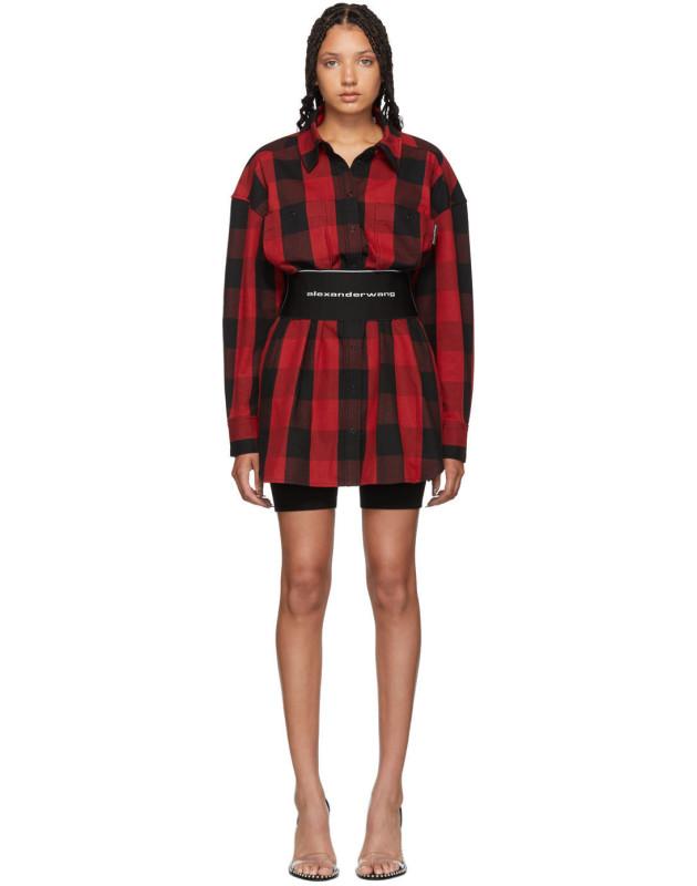 photo Black and Red Plaid Belt Shirt Dress by Alexander Wang - Image 1