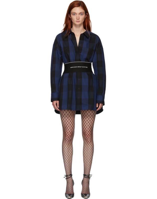 photo Black Plaid Shirt Dress by Alexander Wang - Image 1