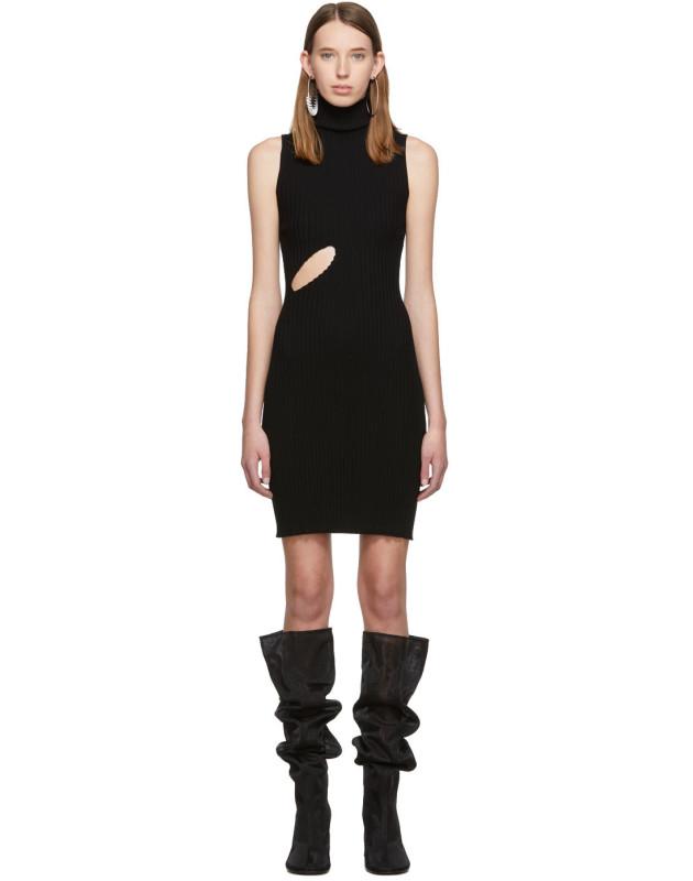 photo Black Slit Turtleneck Dress by MM6 Maison Margiela - Image 1