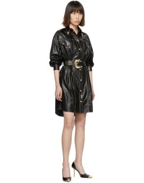 photo Black and Gold Spread Shirt Dress by Versace Jeans Couture - Image 5