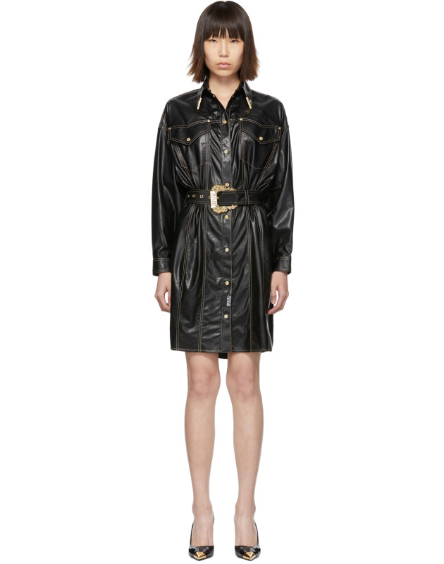 photo Black and Gold Spread Shirt Dress by Versace Jeans Couture - Image 1