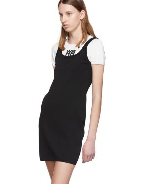 photo White and Black Sport Layering Logo Mini Dress by alexanderwang.t - Image 4