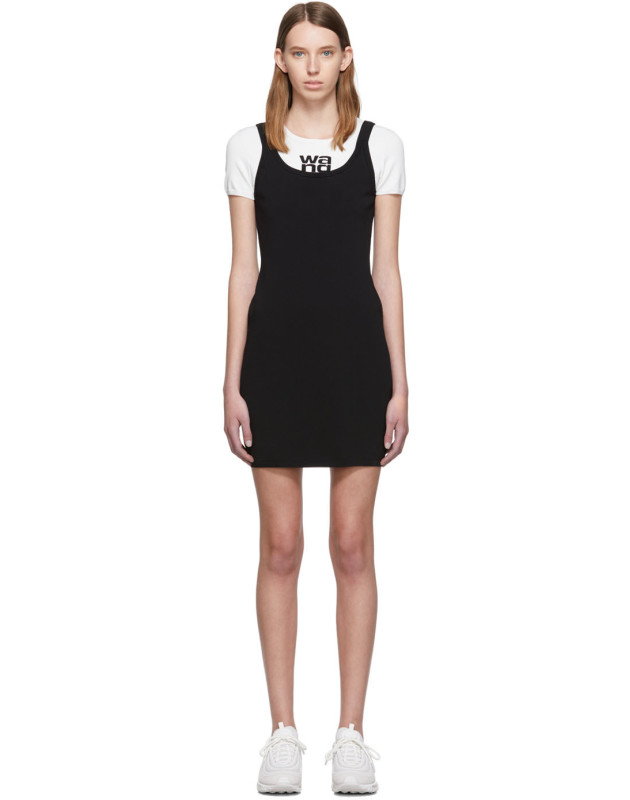 photo White and Black Sport Layering Logo Mini Dress by alexanderwang.t - Image 1