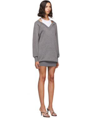 photo Grey and White Bi-Layer Sweater Dress by alexanderwang.t - Image 2