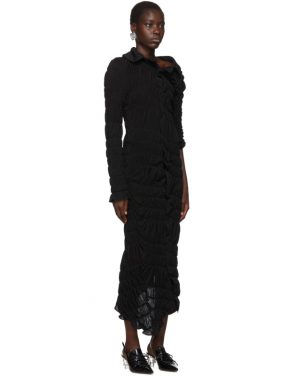 photo Black Lame Jersey Ruched Dress by Comme des Garcons - Image 2