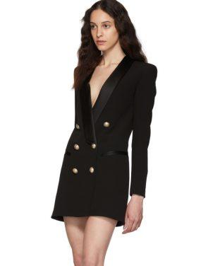 photo Black Crepe Jacket Dress by Balmain - Image 4