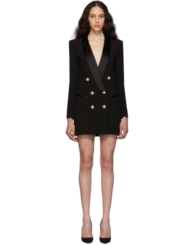 photo Black Crepe Jacket Dress by Balmain - Image 1