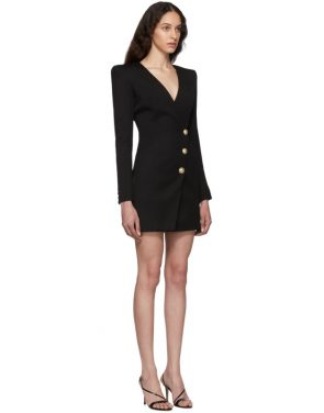 photo Black Wool Cache-Coeur Short Dress by Balmain - Image 2