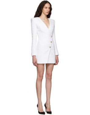 photo White Tweed Cache-Coeur Short Dress by Balmain - Image 2