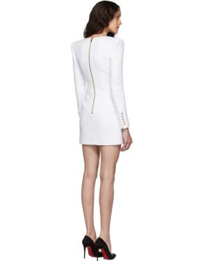 photo White Tweed Cache-Coeur Short Dress by Balmain - Image 3