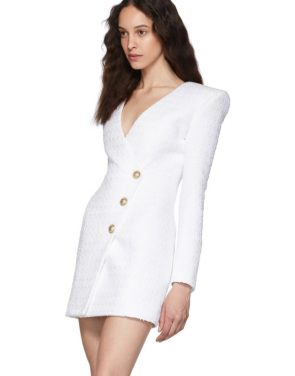 photo White Tweed Cache-Coeur Short Dress by Balmain - Image 4