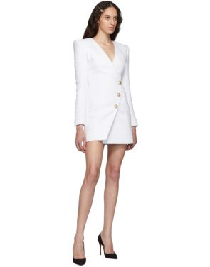 photo White Tweed Cache-Coeur Short Dress by Balmain - Image 5