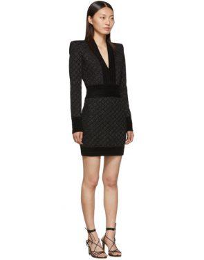 photo Black V-Neck Iridescent Long Sleeve Dress by Balmain - Image 2