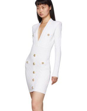 photo White Knit Short Dress by Balmain - Image 4