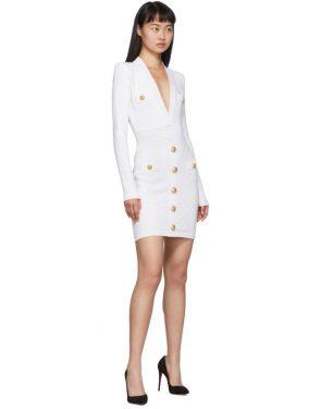 photo White Knit Short Dress by Balmain - Image 5