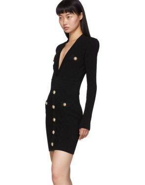 photo Black Knit Short Dress by Balmain - Image 4