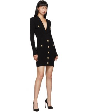 photo Black Knit Short Dress by Balmain - Image 5
