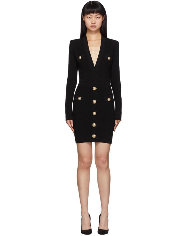 photo Black Knit Short Dress by Balmain - Image 1