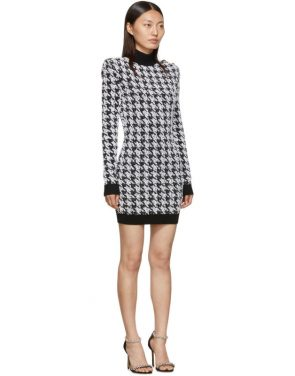 photo Black and White Tweed Houndstooth Long Sleeve Dress by Balmain - Image 2